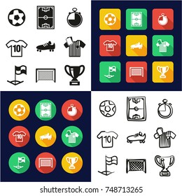 Soccer All in One Icons Black & White Color Flat Design Freehand Set