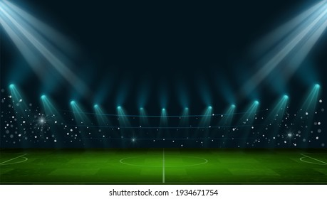 Soccer arena. Realistic european football stadium with grass field, lights and spotlights. 3d ball sport game playground vector night scene