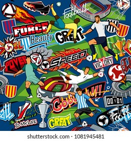 Soccer background. Seamless pattern. Football attributes, football players of different teams, balls, stadiums, graffiti, inscriptions. Vector graphics. Blue background