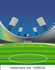 "Soccer background with stadium, field and detailed goal. ""Fish eye"" effect. Vector illustration."