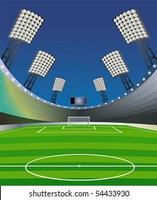 Soccer background with stadium. Vector illustration.
