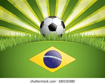 Soccer ball background.Brazil flag concept vector