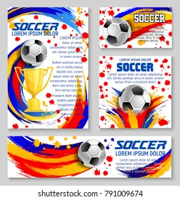 Soccer ball banner template for football sport game design. Golden winner cup or trophy with soccer ball, decorated by colorful paint splashes, brush strokes and spots for football championship design