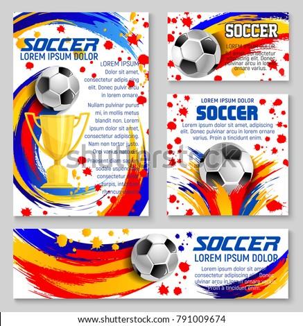 soccer ball banner template football sport のベクター画像素材