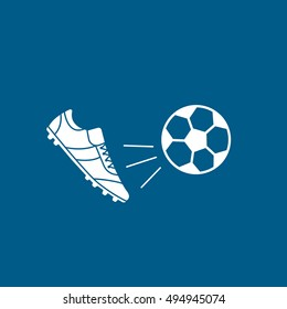 Soccer Ball And Boots Flat Icon On Blue Background