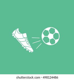 Soccer Ball And Boots Flat Icon On Green Background