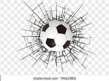Soccer ball and a crack on the glass on transparent background. High resolution