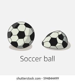Soccer ball and deflated soccer ball