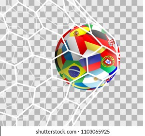 Soccer ball with different national flags in the goal net isolated