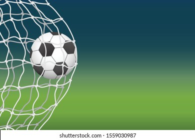 The soccer ball enters the goal. Goal moment. Soccer championship flayer.