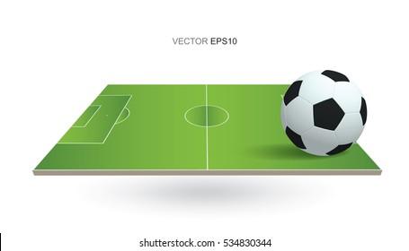 Soccer ball and soccer field on white background. Vector illustration.