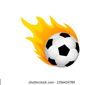 Soccer ball in fire flame. Football fireball cartoon icon. Fast ball logo in motion isolated.
