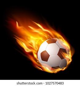 Soccer ball in fire, hot football match – stock vector