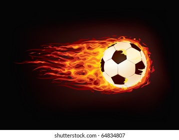 Soccer Ball in Fire isolated on Black Background. Vector.