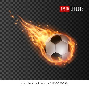Soccer ball with fire tongues, vector football ball falling in flame blaze. Realistic 3d sport inventory, competition or tournament promotion, sports design element isolated on transparent background