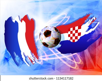 Soccer Ball with Flag of France and Croatia. Vector illustration the background of the stadium 4:2