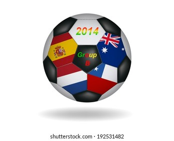 Soccer ball with flag isolated on white