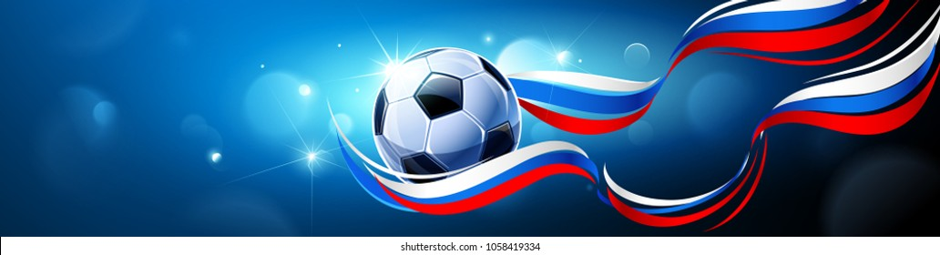Soccer Ball with Flag of Russia on a Blue Background. Vector illustration