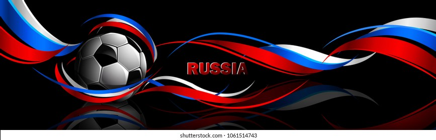 Soccer Ball with Flag of Russia on a Black Background. Vector illustration