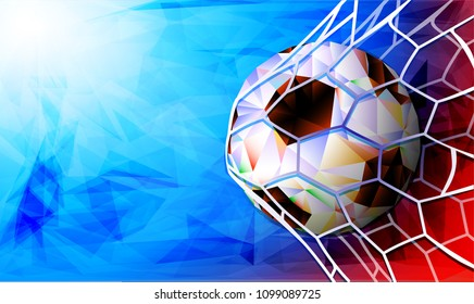 Soccer Ball with Flag of Russia. Vector illustration the background of the stadium FIFA world cup. Russia 2018.