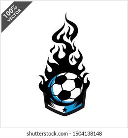 soccer ball flame badge logo vector