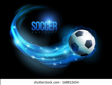 Soccer ball in flames and lights against black background. Vector illustration.