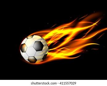 Soccer ball in flames on black background, burning soccer ball, vector illustration