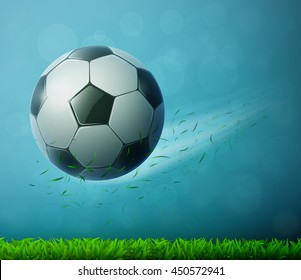 Soccer ball flying in air with grass. Football background. Eps10 vector illustration