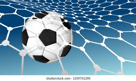 Soccer ball flying into the net of a soccer goal net. Goal. Vector illustration on blue sky background