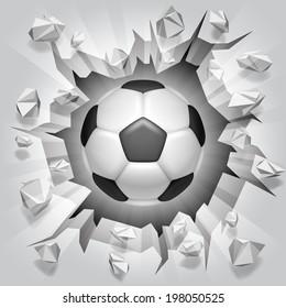 Soccer ball flying through damaged wall.