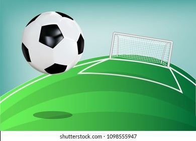soccer ball or football floating on green field