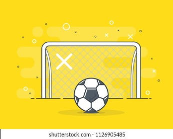 Soccer ball / football gate. Penalty kick on the gate. Trendy flat vector on white background.
