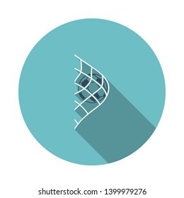Soccer Ball In Gate Net Icon. Flat Circle Stencil Design With Long Shadow. Vector Illustration.