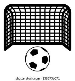 Soccer ball and gate Penalty concept Goal aspiration Big football goalpost icon black color vector illustration flat style simple image