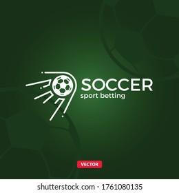 Soccer Ball Goal Bet Vector Logo. Football Betting Vector Logotype