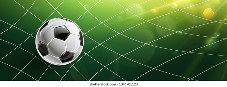 Soccer ball in goal of bright sunlight. Vector illustration