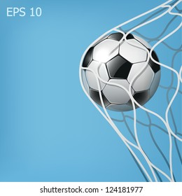 soccer ball in the goal net on the blue background eps10 illustration
