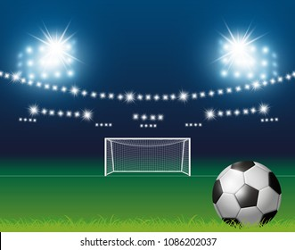 Soccer ball and goal with spotlight background in stadium vector illustration