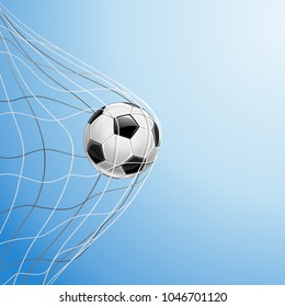 Soccer Ball in a Grid on a Blue Background. Scored a Goal. Vector illustration