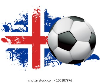 Soccer ball with a grunge flag of Iceland. EPS 10. File contains transparencies and gradient mesh.