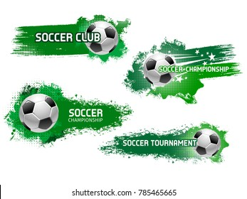 Soccer ball grunge icon for football championship tournament match and sport club badge. Flying ball with motion trail of star and sparkles for soccer or football sport game banner design
