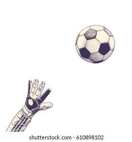soccer ball, hand drawn vector