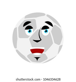 Soccer ball happy Emoji. Football Ball merry emotion avatar