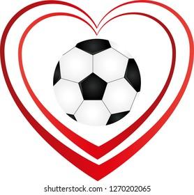 soccer ball and heart logo