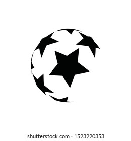 Soccer ball icon. Abstract logo with black stars.