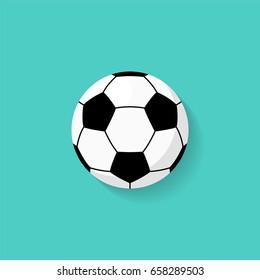 Ikona fotbalového míče v plochém stylu. Vektor