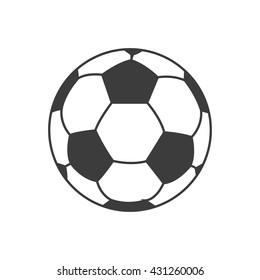 Ikona fotbalového míče. Plochá vektorová ilustrace černě na bílém pozadí. EPS 10