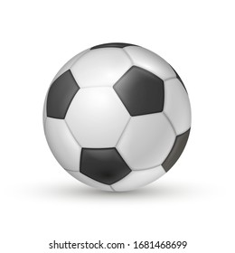 Soccer ball icon, football game sport for competition. Professional player object. Vector realistic illustration isolated on white background.