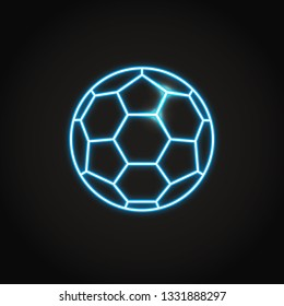 Soccer ball icon in glowing neon style