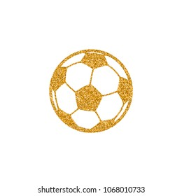Soccer ball icon in gold glitter texture. Sparkle luxury style vector illustration.